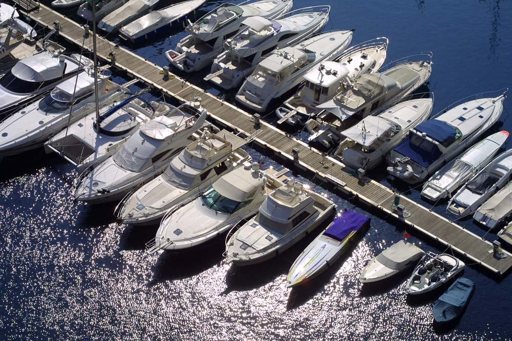 Collection of luxury boats moored in Monaco marina.